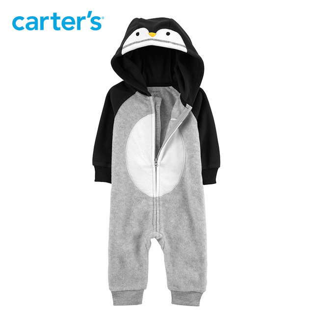 a17c055b0 Carters Hooded Penguin Fleece Jumpsuit Baby boy rompers cute long sleeve autumn  winter baby clothes 118I727