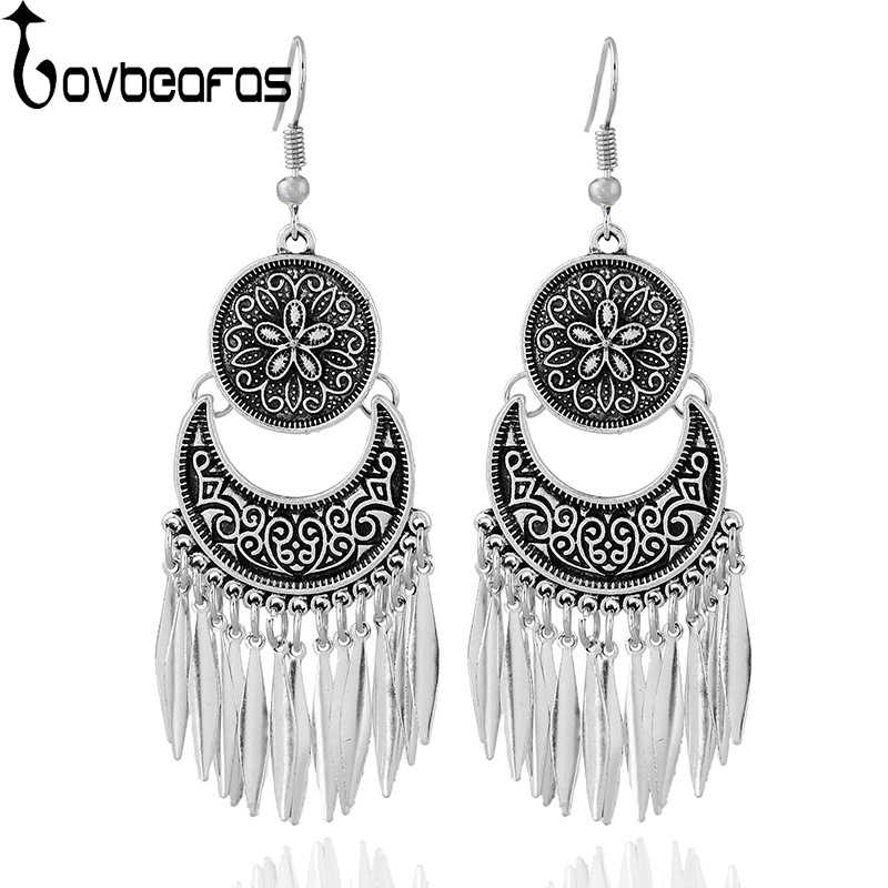 LOVBEAFAS Fashion Boho Drop Long Tassel Earrings For Women Jewelry Vintage Silver Carved Earrings Power Bohemian Drop Earrings