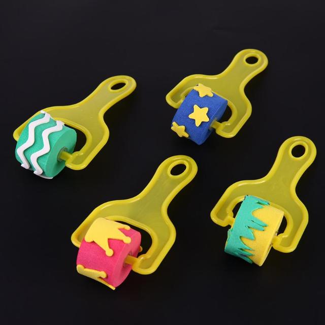 4Pcs/Set Kid Art Star Craft Painting Tool Sponge Paint Roller Brush Plastic Handle Set Children Early Education Drawing Toy