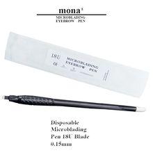 Высокое качество, 0,15 ММ, ручная Татуировка бровей, 18U, лезвие, ручка, Одноразовая, микроблейдинг, ручка для перманентного макияжа, фиброви, 10 шт