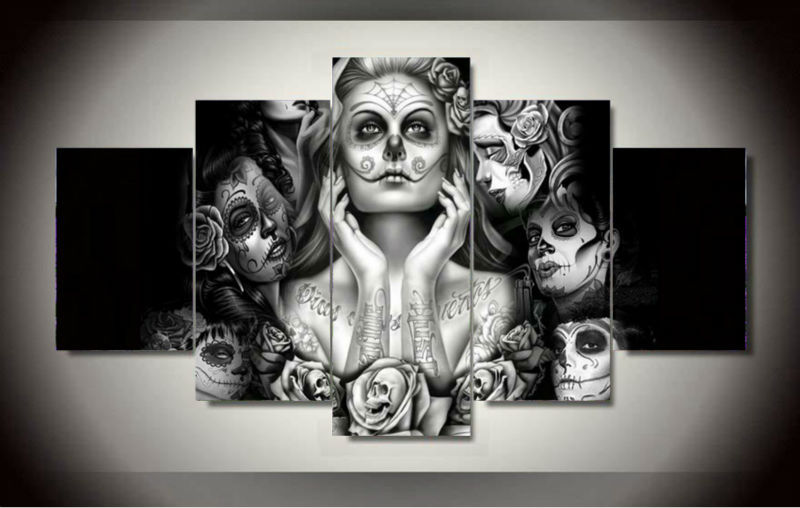 5 Panels Canvas Prints Framed Printed Sugar Skull Painting Poster Home Decor Wall Art