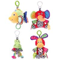 Colorful Soft Animal Music Baby Rattle Toy Lovely Puppy Elephant Baby Crib Stroller Hanging Grasp Plush