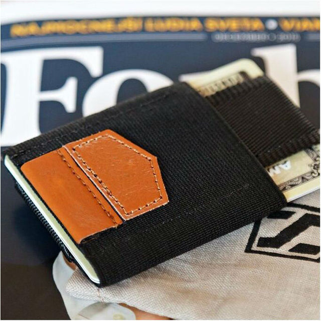 Slim Cow Leather Wallet and Elastic Credit ID Card Holder