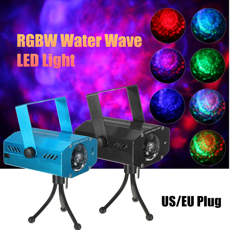 LED RGBW Stage Light 12W Club DJ Disco Laser Lamp Water Wave Ripple Effect Stage Lighting Show Voice Contro Remote with Tripod