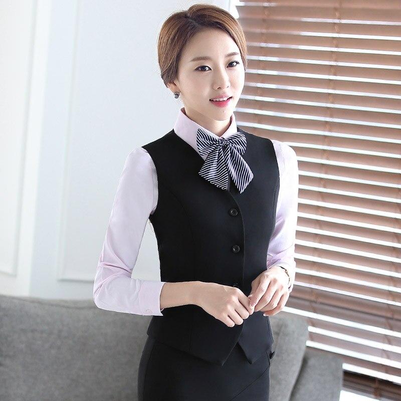 2018 desgaste do Negócio das mulheres ternos de saia colete banco de  recepção do hotel uniformes uniformes aeromoça ferramental 1c239788880fd