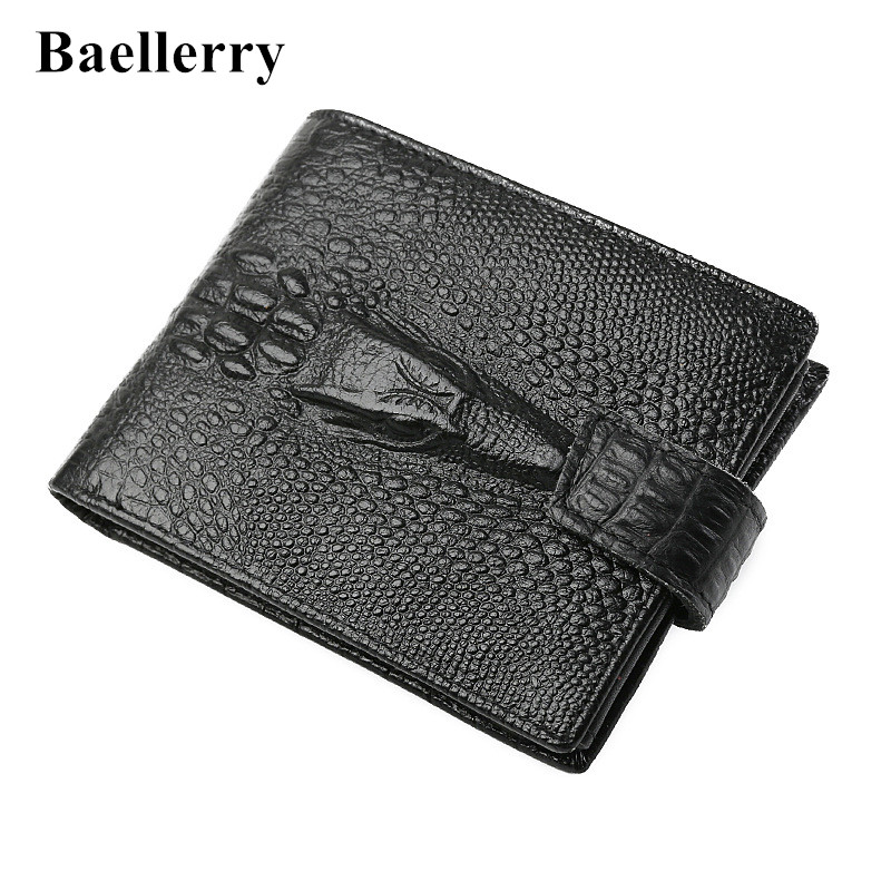 2018 New Genuine Leather Alligator men's wallet high-quality vintage cow brand top purse zipper coin purse