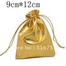 100 золотой цвет Ткани Сумки с 12 х 9 см (w01812 X 1)
