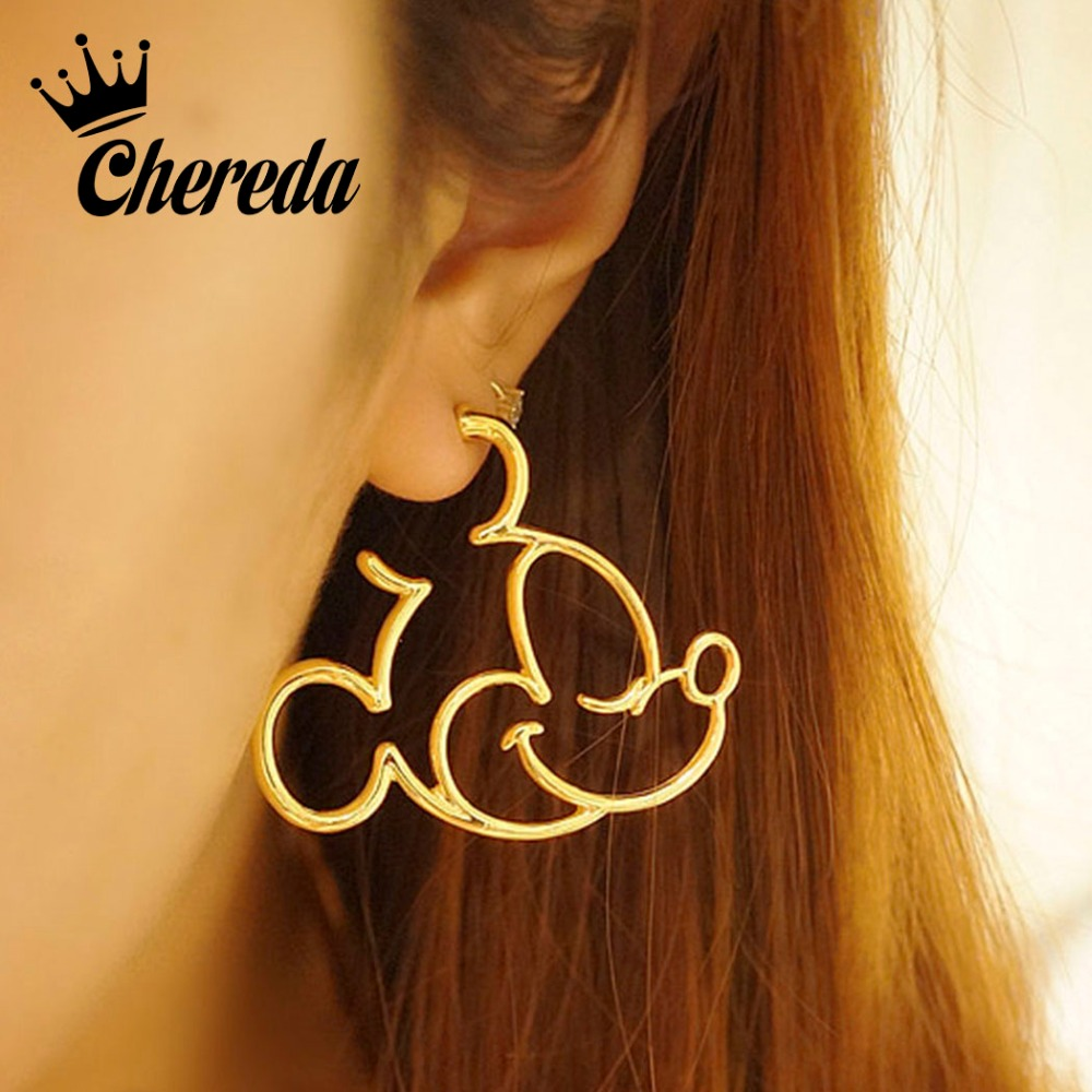 Chereda Cartoon Mickey Gold Stud Earrings for Women Geometric Elegant Earring Girl Office Valentines Day Christmas Gift