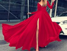 Sexy Women Dress Deep V Long Sleeve Maxi Ladies Party Dresses Solid Split Evening Sundress