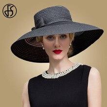 FS Black Sky Blue Summer Sun Hat Women Large Wide Brim Wedding Fedora With Bowknot Vintage Church Derby Straw Hat Bone Feminino