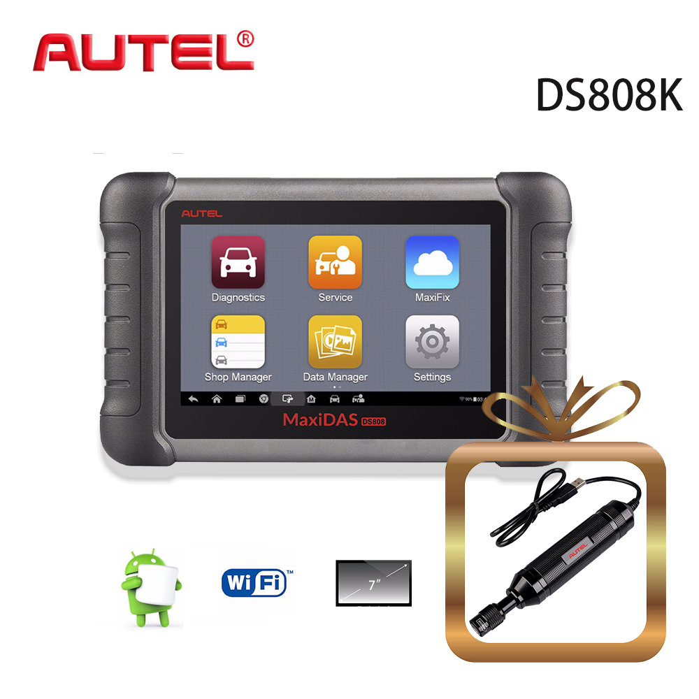 Autel All System MaxiDAS DS808K Upgraded of DS708 Automotivo Diagnostic Tool OBD2 Scanner with Key Coding with MV108 Camera