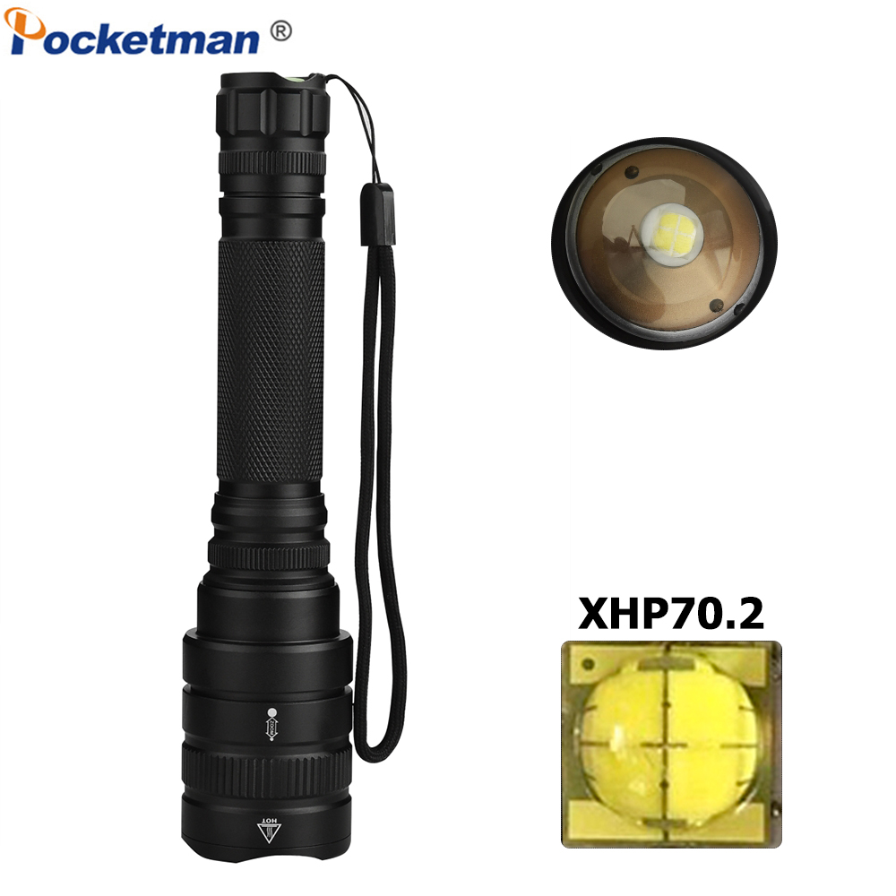 <font><b>60000LM</b></font> XHP70.2 <font><b>LED</b></font> Flashlight Zoomable <font><b>LED</b></font> Torch Powerful XHP50 XHP70 Flashlight Waterproof for Outdoor Camping Hiking Working image