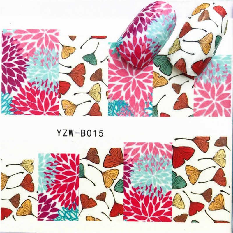 1 adet Sakal Güzel Kadın Tırnak Sticker Kelebek Çiçek Su Transfer Çıkartma Kaydırıcılar Tırnak Sanat Dekorasyon için Dövme Manikür #02