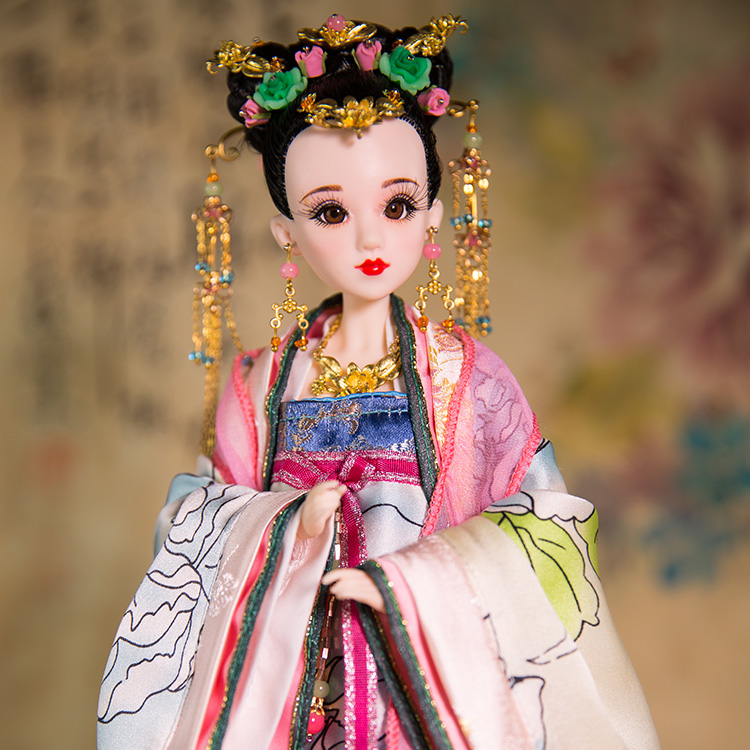 "Gratis frakt 14 ""Handgjorda Ancient Chinese Dolls With Joints Movable 3D Realistic Eyes Boutique Prinsessan Taiping Dolls Gifts 359"