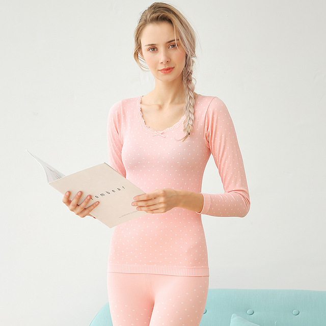 Long Johns For Women Spring Autumn Winter Thermal Underwear Set Underwear Sexy Sleep Top And Bottom Cotton Polka Dot Lady Suits