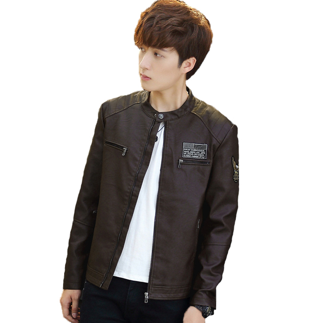 New Autumn Fashion PU Leather Jacket Men Motorcycle Air Force Pilot Bomber Leather Jacket Stand Collar Chaqueta cuero Hombre