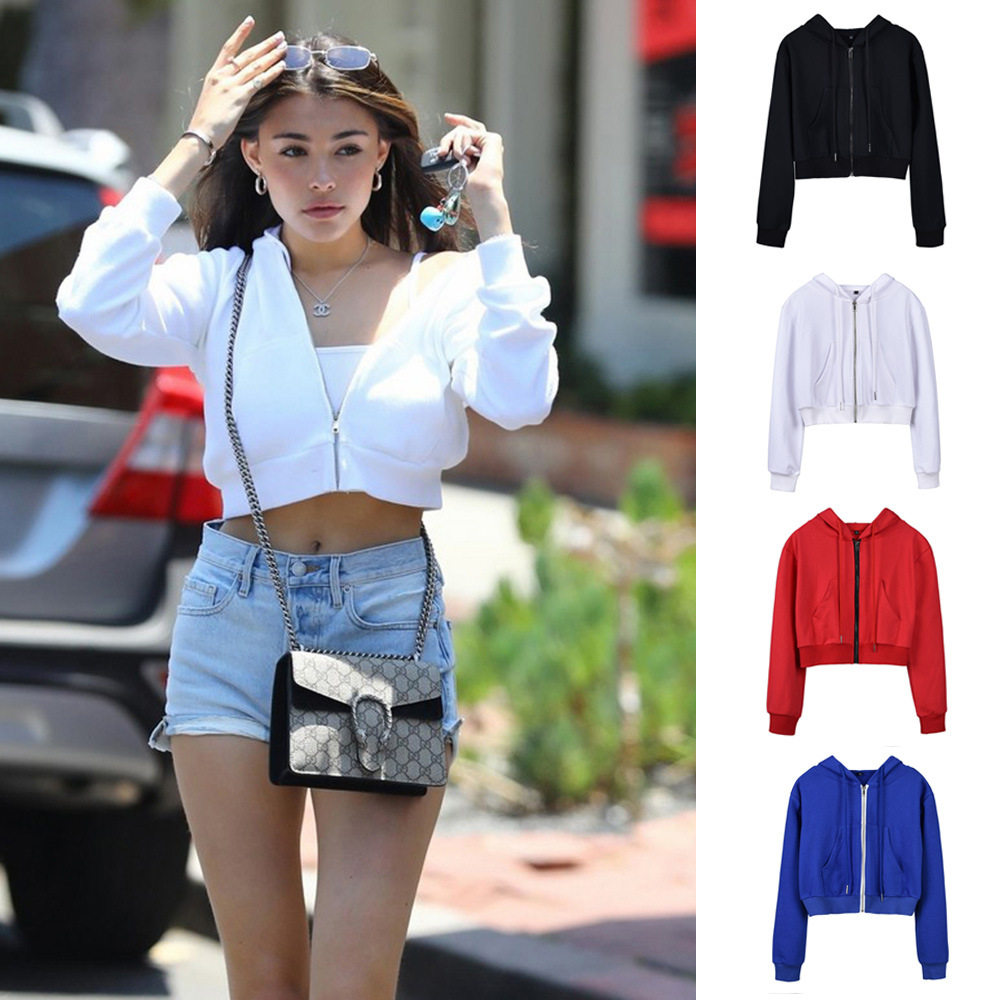 2019 New Hotsale Ins Autumn Winter Long Sleeve Short Zipper Jacket Hoodies Women Sexy Crop Top Hoodie Outerwear Womens