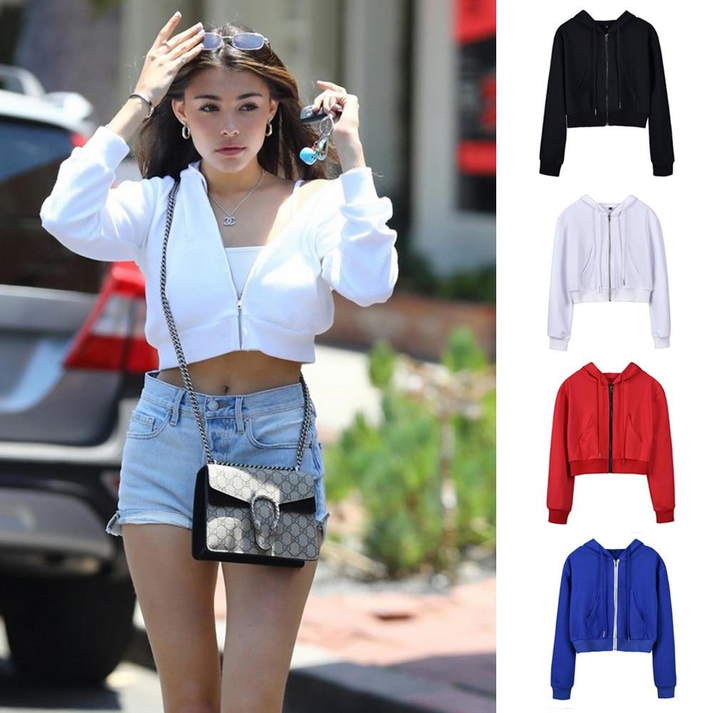 2019 New Hotsale Ins Autumn Winter Long Sleeve Short Zipper Jacket Hoodies Women Sexy Crop Top Hoodie Outerwear Womens