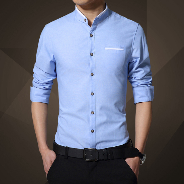 ed6373d98a0 2019 Spring autumn Mens blue Shirt Business Casual Long-Sleeve Shirt male  Slim Fashion stand