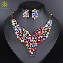 Luxury Gold Color Crystal Bridal Jewelry Sets for Brides Necklace Earrings Set Wedding Party Costume Accessories
