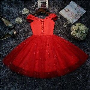 Image 3 - LYG A5 # vestidos de dama de honra broca rendas acima vermelho e branco curto festa de casamento vestido de baile de formatura atacado noiva casar meninas graduação