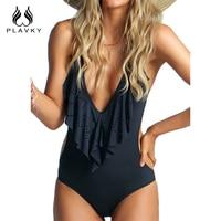 Sexy Plunging Neck Flouncing High Cut Trikini Push Up Monokini Bathing Swim Suit For Women Thong