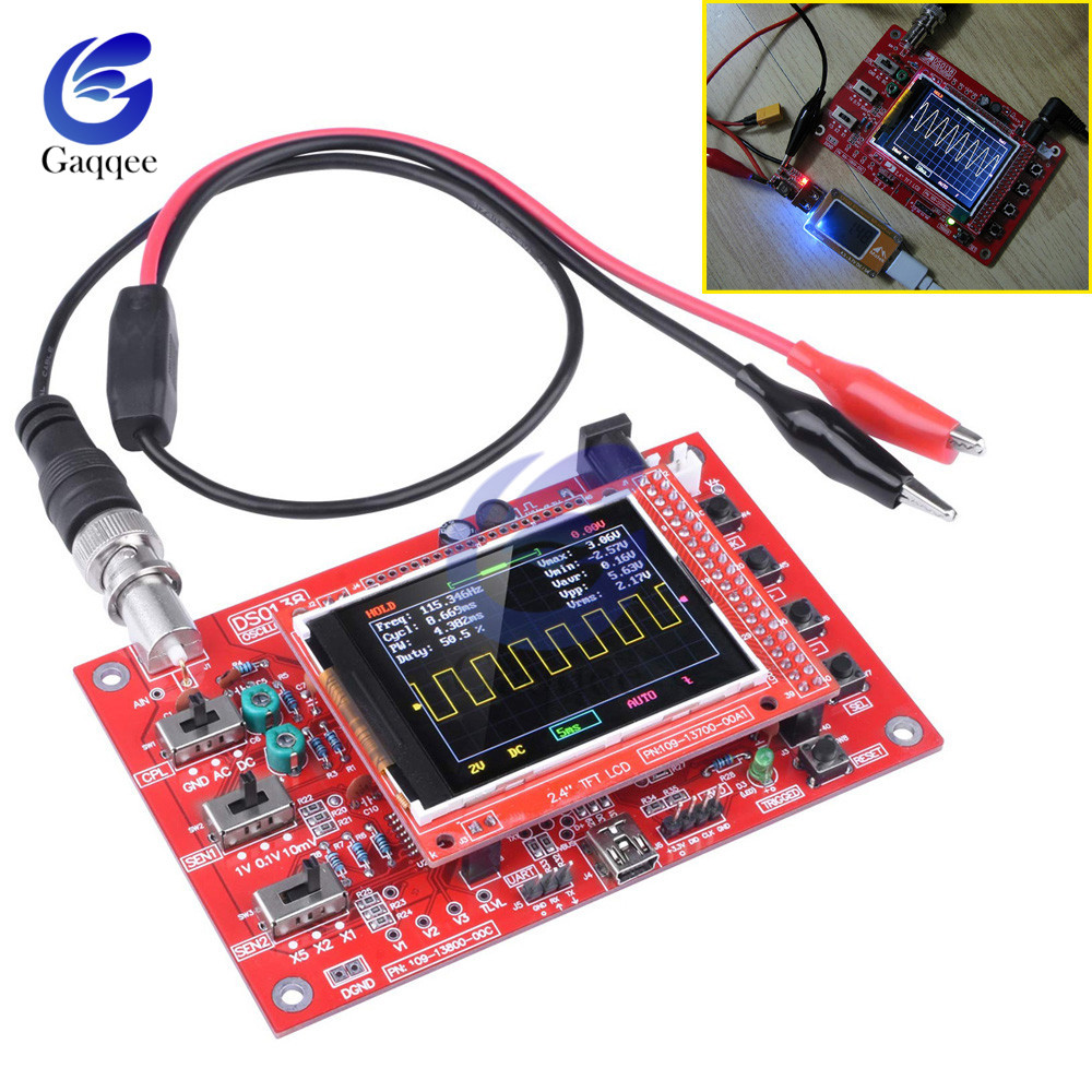 DSO138 Oscilloscope Digital TFT With Probe Alligator Test Clip For Arduino ARM Detection Development Board Assembled 2.4 Inches
