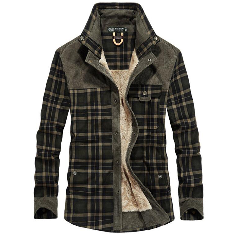 Hommes Green Coffee army Occasionnel À Manches light Plaid D'hiver Militaire Velours red Coffee Chemise Carreaux Streetwear Chaud dark Support Green Chemises Longues Épaissir Col Green Polaire 4HqwBEx