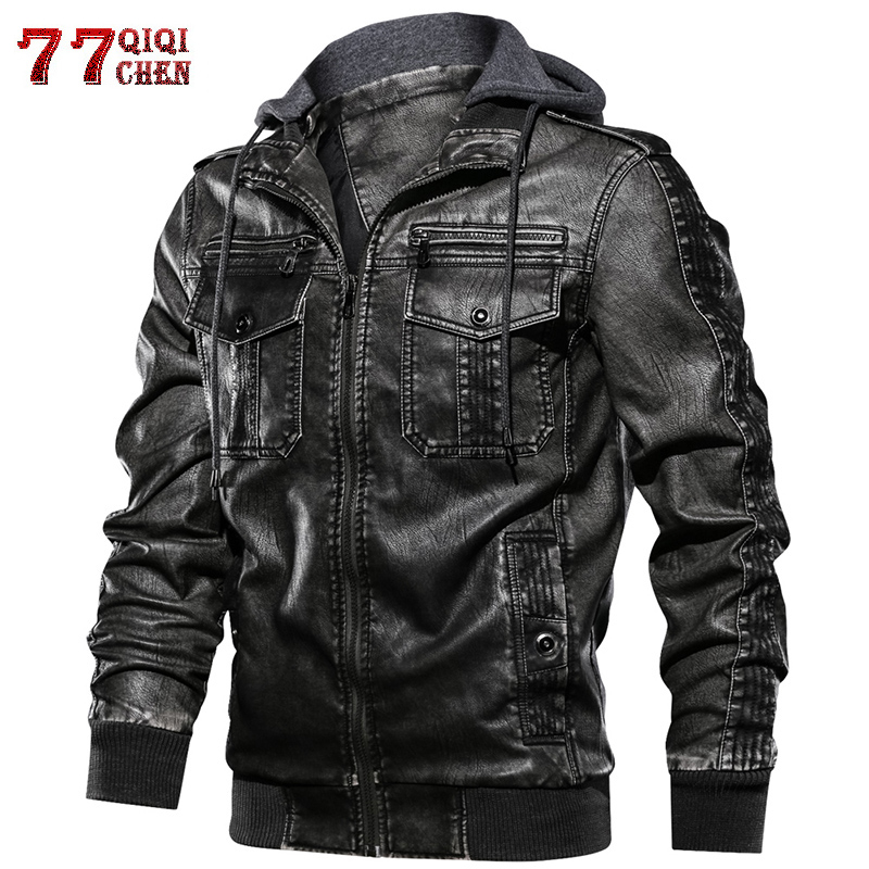 QIQICHEN European Size S-2XL Luxury Men PU Military Leather Jacket Hooded Motorcycle PU Leather Jackets Coats Male Jaqueta Couro