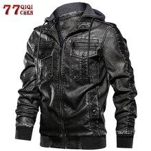 QIQICHEN European size S-2XL Luxury Men PU Military Leather Jacket Hooded Motorc