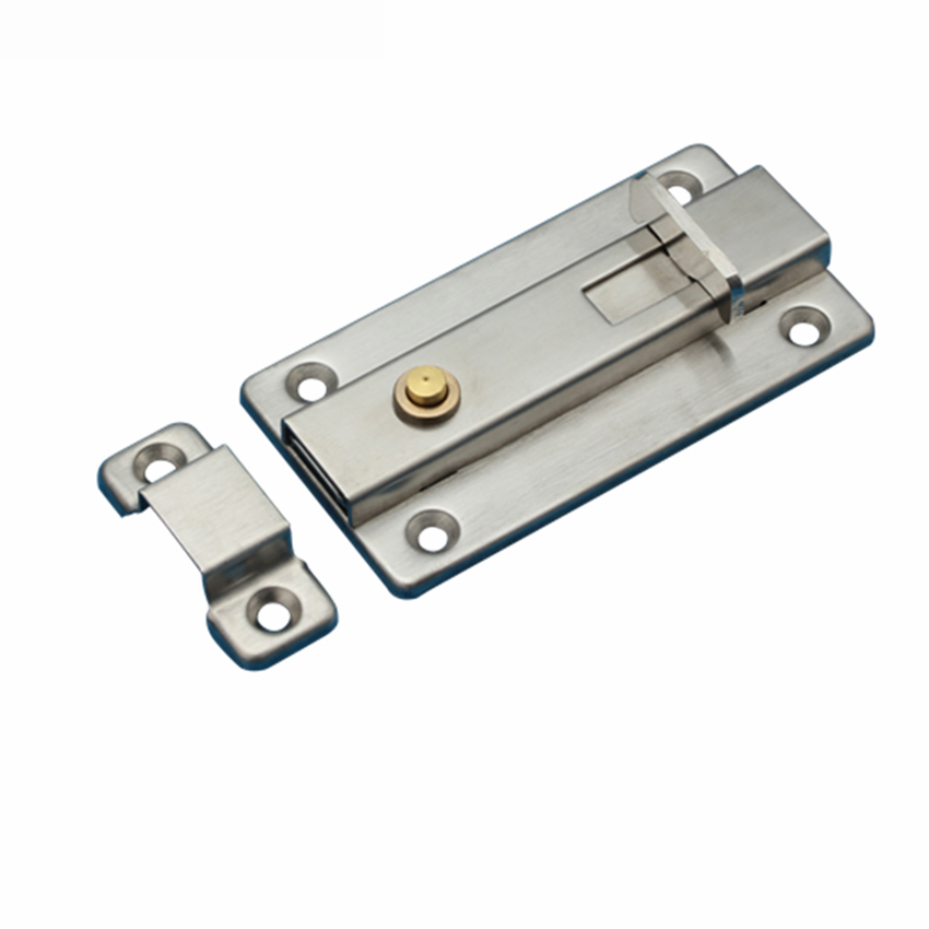 4 Inch Stainless Steel Door <font><b>Latch</b></font> Sliding Lock <font><b>Barrel</b></font> <font><b>Bolt</b></font> Automatic Spring <font><b>Latch</b></font> Safety Lock for Hotel Office Home Cabinet image