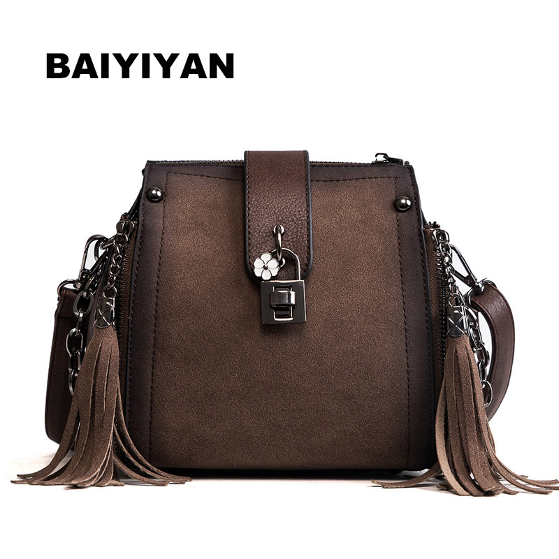 New Vintage Women's Tassel Shoulder Bag Hasp Chain Bucket Bag Female Casual PU Leather Retro Crossbody Bag metallic pu chain crossbody bag