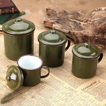 ENERGE SPRING Vintage Army Green Enamel Cup Nostalgic Classic porcelain cups Tea Crock