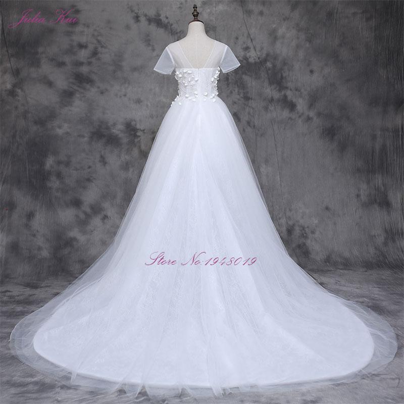 2017 Vestidos De Novias s malým 3D květinovým krátkým rukávem A - Svatební šaty - Fotografie 5