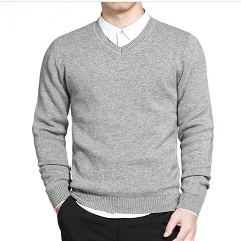 2017 Spring mens sweater pullovers Simple style cotton knitted V neck sweater jumpers Thin male knitwear Blue Red Black M 4XL