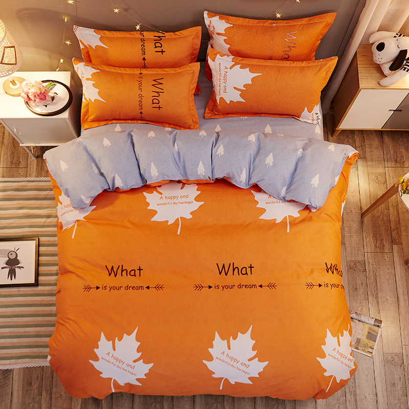 AB design Maple leaf 3/ 4pcs Bedding Sets Refreshing series Soft Bed Sheet Pillowcase & Duvet Cover Set