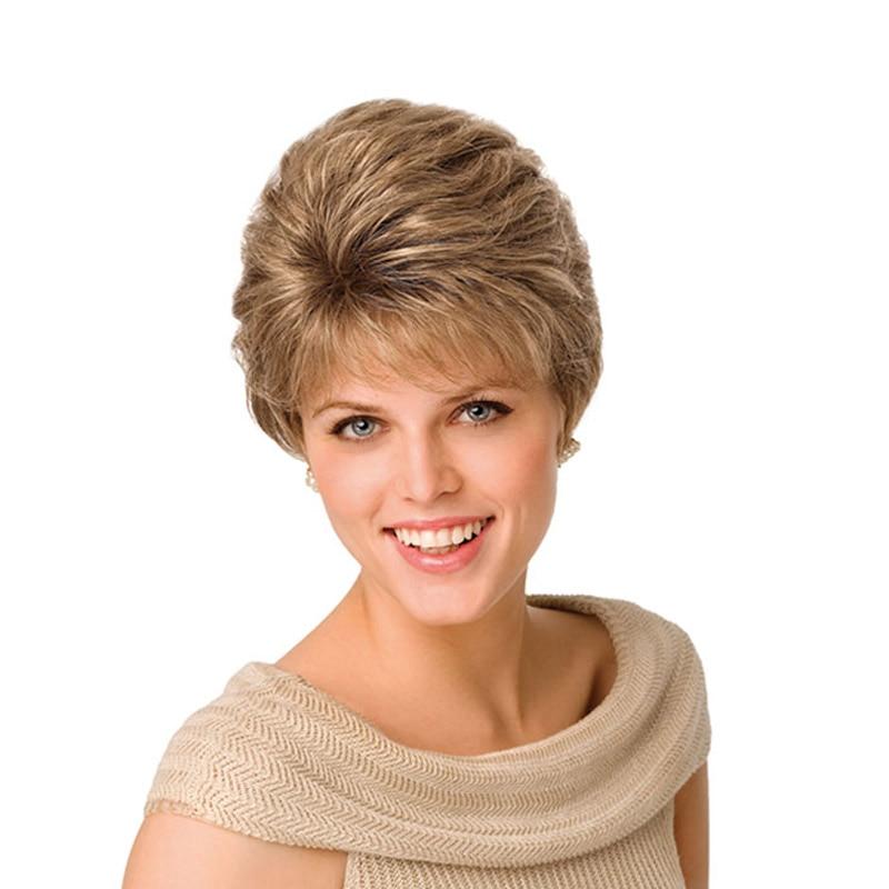 luces en rubio mujer corte de pelo corto peluca de pelo rizado de la peluca natural sinttico americano peluca kanekalon peluca realista para las mujeres en