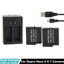 Go Pro Hero7 Hero6 Hero5 Black Dual Battery Charger For GoPro 5 6 7 +2Pcs Rechargeable Batteries For Sport Camera Accessories go pro hero7 hero6 hero5 black dual battery charger for gopro 5 6 7 2pcs rechargeable batteries for sport camera accessories