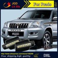 Бесплатная доставка! 12 В 6000 К СИД DRL дневные Бег света для Toyota Prado 2003 2009 противотуманная фара рамка туман свет стайлинга автомобилей