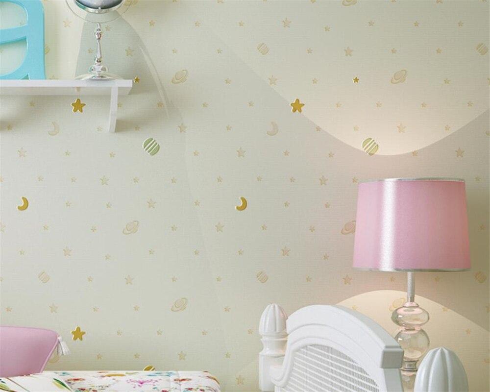 Beibehang papel de parede 3d Children sprinkle gold stars moon 3D wallpaper bedroom children's room wallpaper for walls 3 d