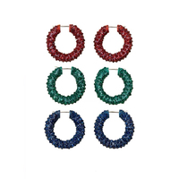 2019 New Fashion Iconic Jewelry Colorful Hoop Earrings Full Stone For Women Modern Red Blue Green Round Circle Fancy Earrings