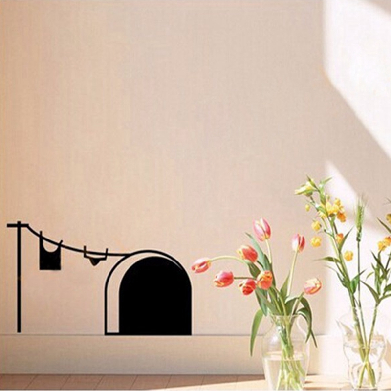 Free shipping New cute cartoon mouse home sticker wall decor Mouse Hole  Children Decor Vinyl Sticker Wall Decal-in Wall Stickers from Home & Garden  on ...