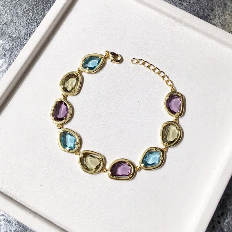 Bracelets en cristal naturel coloré de bijoux de marque de luxe pour des femmes de charme Bracelet et Bracelet de fiançailles de Style de sucrerie de qualité supérieure - 2