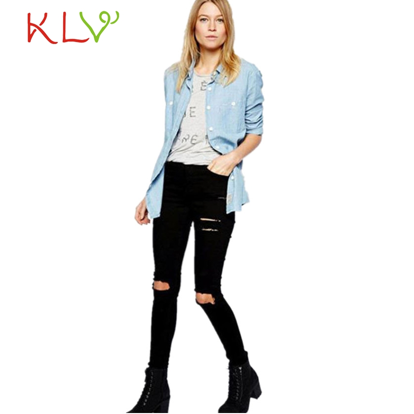 d9d28562f44 2017 Autumn Women Cool Ripped Knee Cut Jeand Skinny Long Jeans Pants Slim  Pencil Trousers Cotton pantalones mujer !4