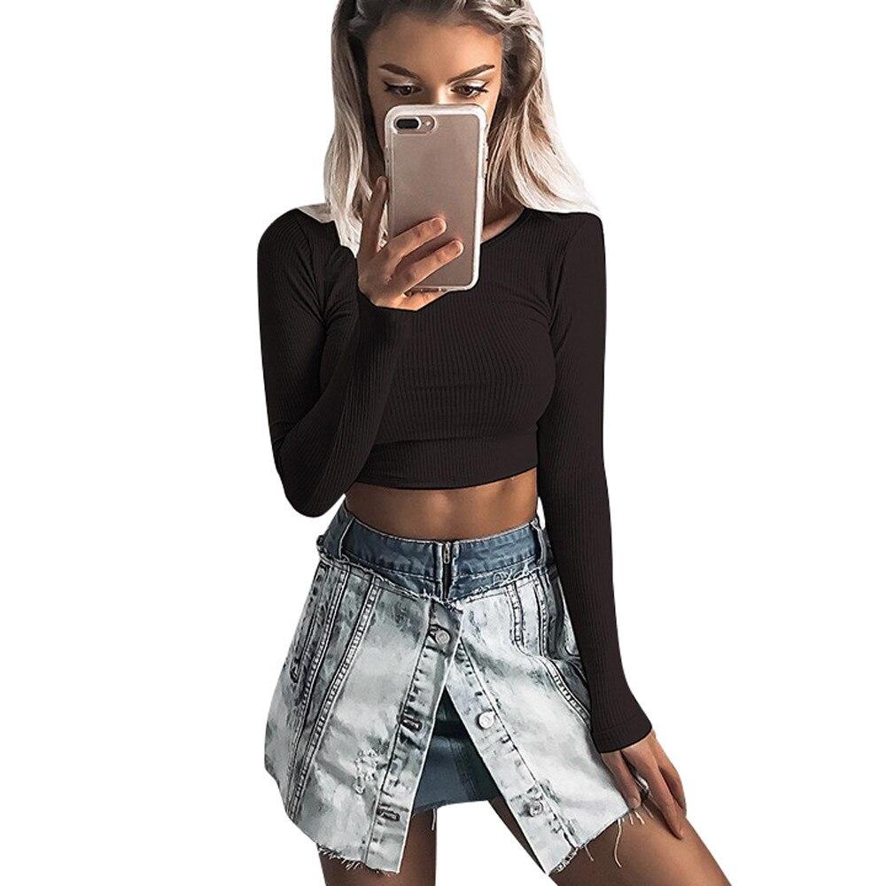 Crop Tops Women Tshirt Ladies Tops Female O Neck Long Sleeve Autumn Women Tee Shirt Slim Sexy T Shirt Women 2018 Haut Femme