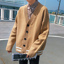 2017 New Autumn Winter Warm Male Oversize Leisure Stripe Sweater Knitting Cardigan Agasalho Masculino Mens Casual Knitwear M-2XL