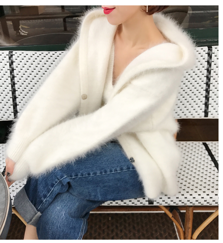 2019 NEW women mink cashmere sweater cardigan with hooded lantern sleeve coat outwear jacket free shipping