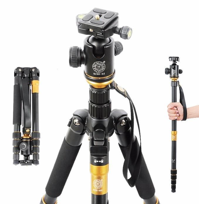 QZSD Q666 Tripod With Q-02 360 Degree Swivel Fluid Head for nikon Canon Pentax Sony Olympus Aluminium Alloy Tripod Fold 35cm штатив 2015 q666 q 666 qzsd 02 15 q 666