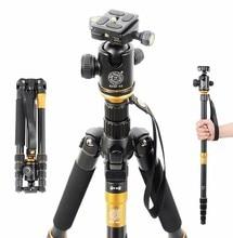 Cheap price QZSD Q666 Tripod With Q-02 360 Degree Swivel Fluid Head for nikon Canon Pentax Sony Olympus Aluminium Alloy Tripod Fold 35cm