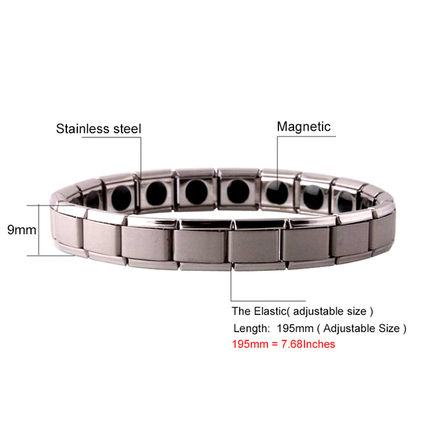 Stretch Stainless Steel Germanium Magnetic therapy Bracelet